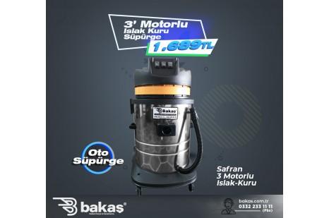 Safran 3 Motorlu Islak Kuru Süpürge Vakum Makinesi 3600 watt